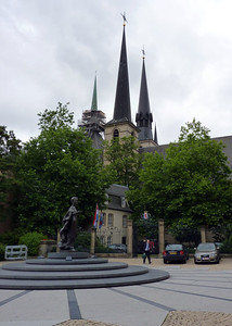 Church and Statue in Luxembourg