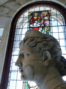 Stained Glass and Statue
