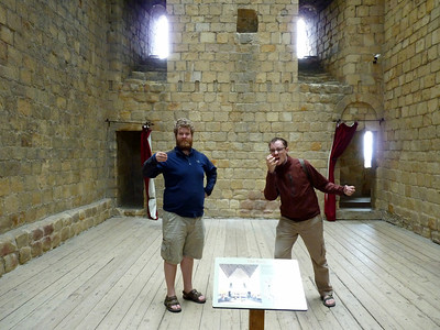 """Justin and Thomas """"feasting"""" in the great hall"""