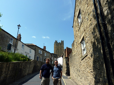 Thomas and Justin in front of Richmond Castle